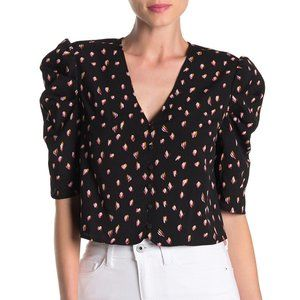 Puff Sleeve Floral Dot Cropped Top Small PA90